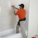 Bathroom Refacing Process - Wall Surround Adhesion